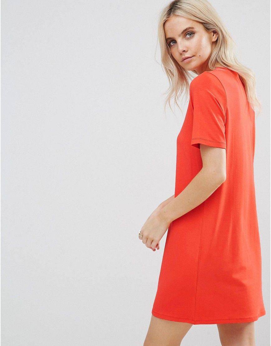 38c4e8816d ASOS PETITE Mini T-Shirt Dress with Button Detail - Orange