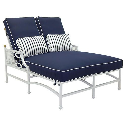 carved outdoor One Kings Lane Double chaise, Luxury
