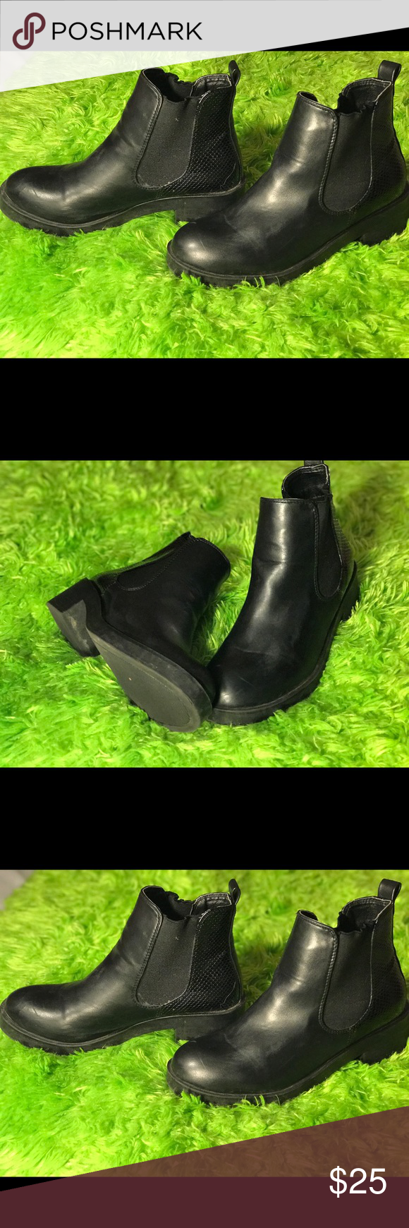 All black booties Perfect seasonal shoe! Good condition a couple scuffs but a good cleaning can get ride of those. Only work 3 times. Shoes Ankle Boots & Booties