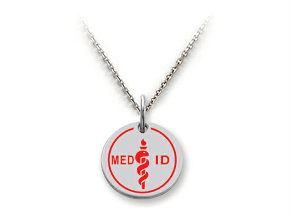 Stellar White 925 Sterling Silver MED ID Small Disc Pendant Necklace - Chain Included