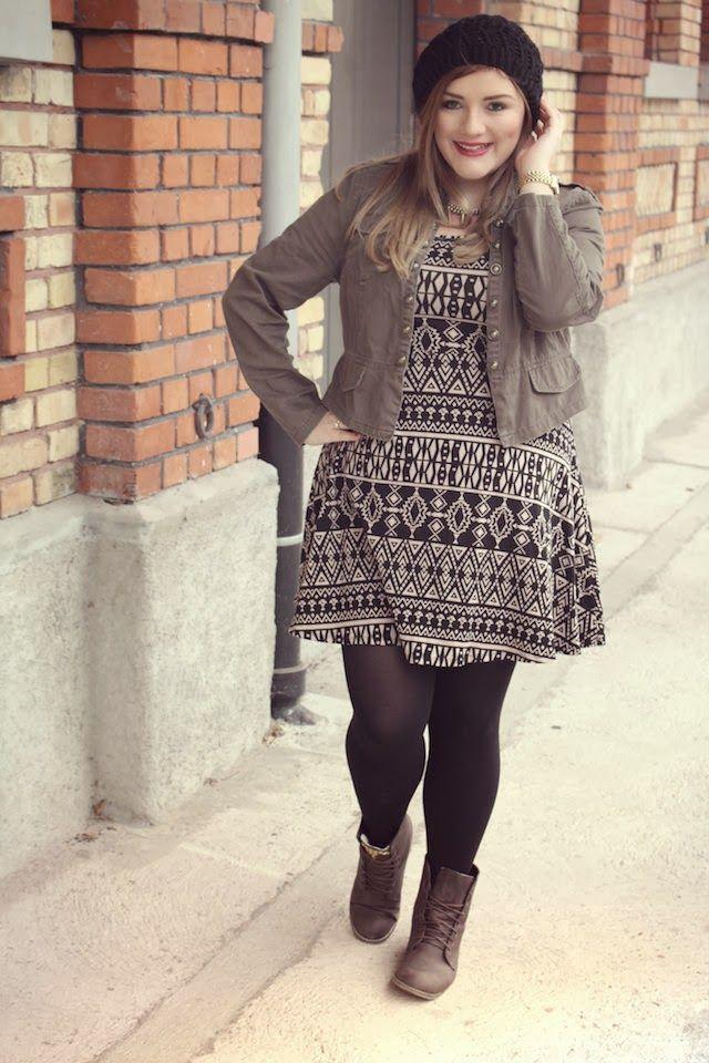 plus size geometric pattern dress, jacket - Theodora ...