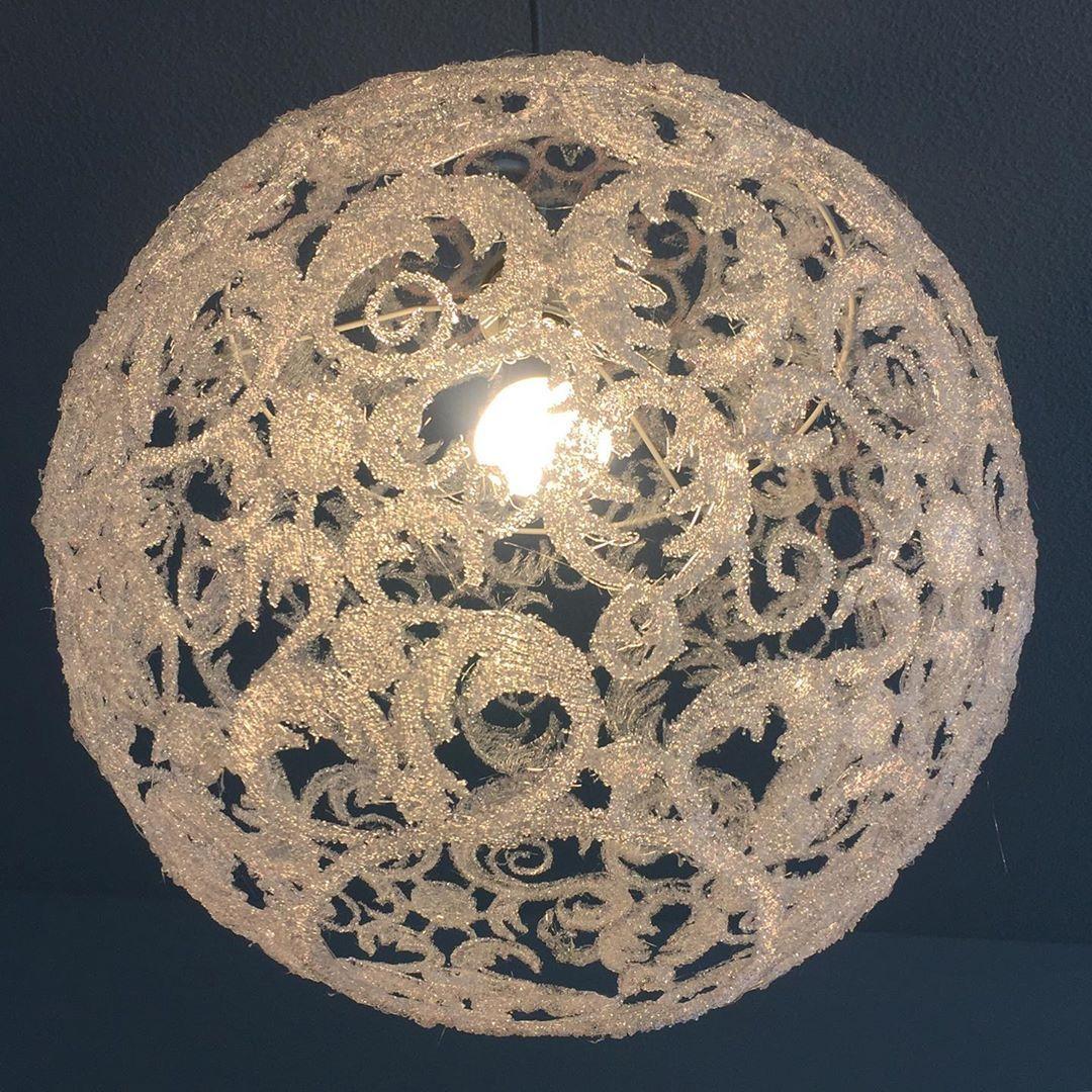 Meine Neue Lampe Ist Fertig Mehr Helligkeit Durchmesser Ca 30cm Lampenschirm Kugellampe Lampenkugel Floral Handcrafted 3dstift Filament Diys Made
