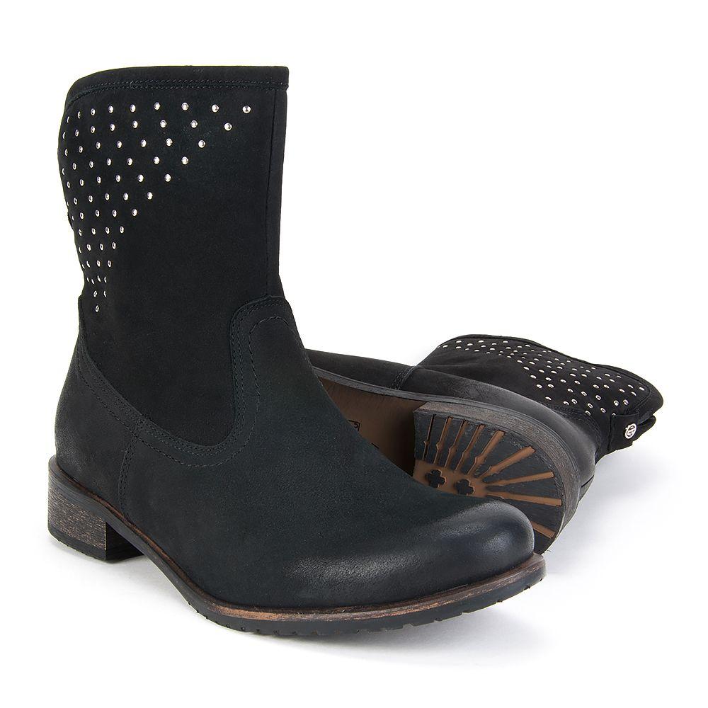 Botki Eksbut 65 3165 549 1g Czarny Nubuk Cekiny Boots Biker Boot Shoes