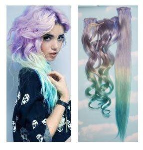 Ice Storm Purple Blue Ombre Dip Dyed Human Hair Extensions, Full Set Clip In Extensions, Hippie, Festival, Tye Dye Hair, Hair Weft. $140.00, via Etsy.