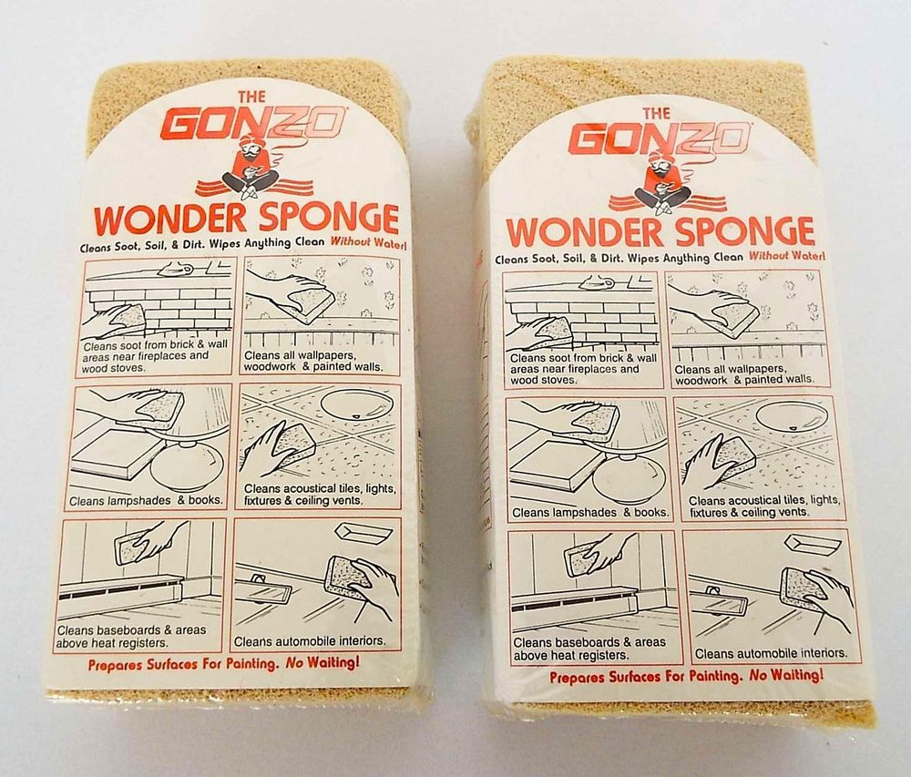 2 Gonzo Wonder Sponge Wipes Clean Without Water Environmentally Safe NOS Sealed