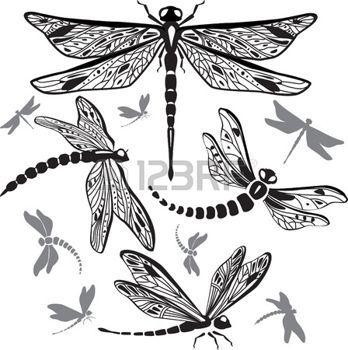 tatouage libellule: Set de libellules décoratifs