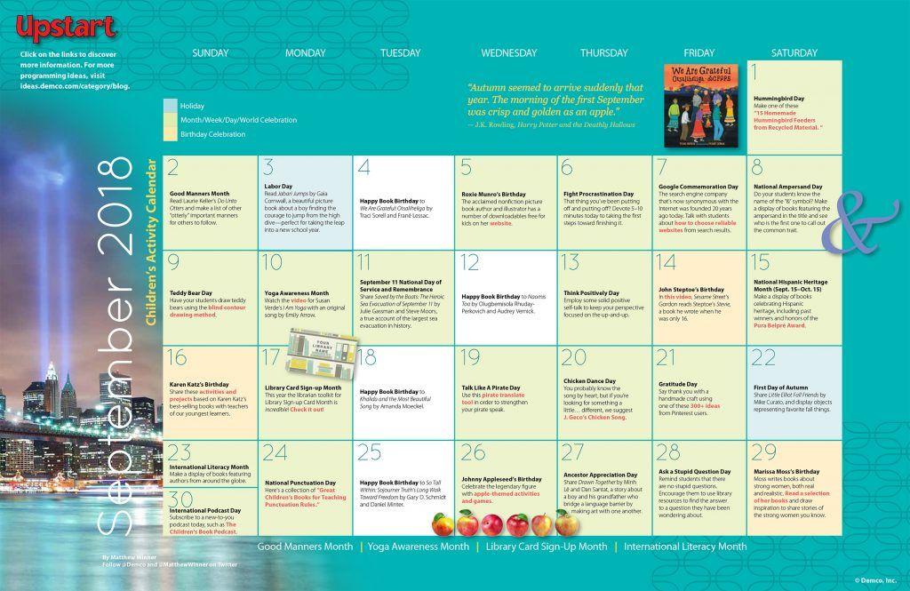 Children\u0027s Activity Calendar September 2018 emma girl Pinterest