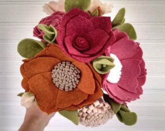 Wedding bouquet wool felt flower bouquet flower by madymae on Etsy