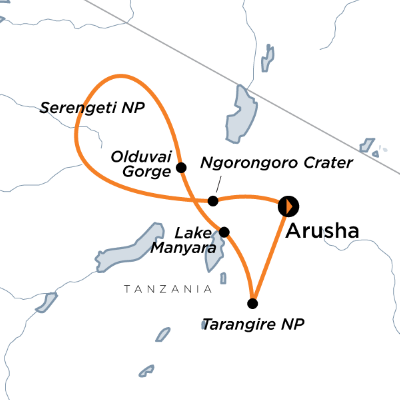 Discovery Adventure Route map for Tanzania Wildlife