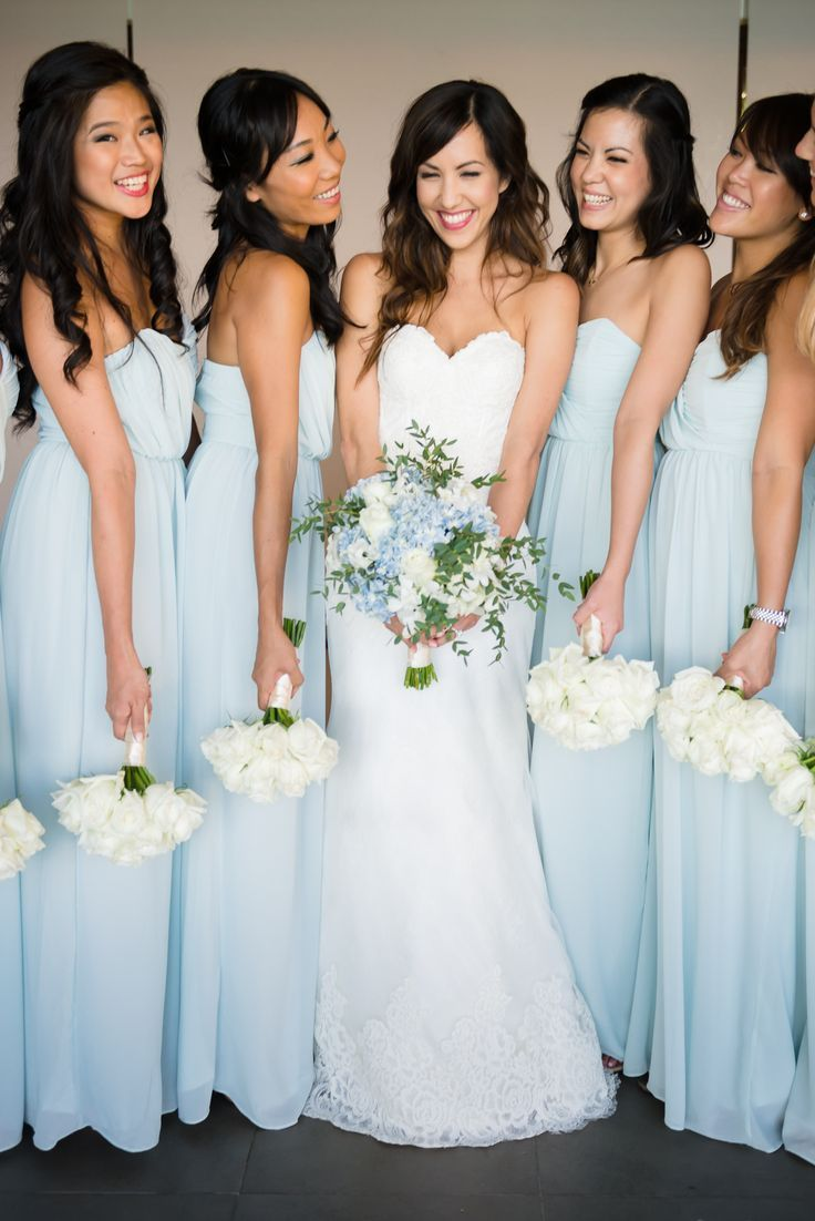 White and blue wedding dresses  Light Blue Bridesmaids Dresses with All White Bouquets  wedding