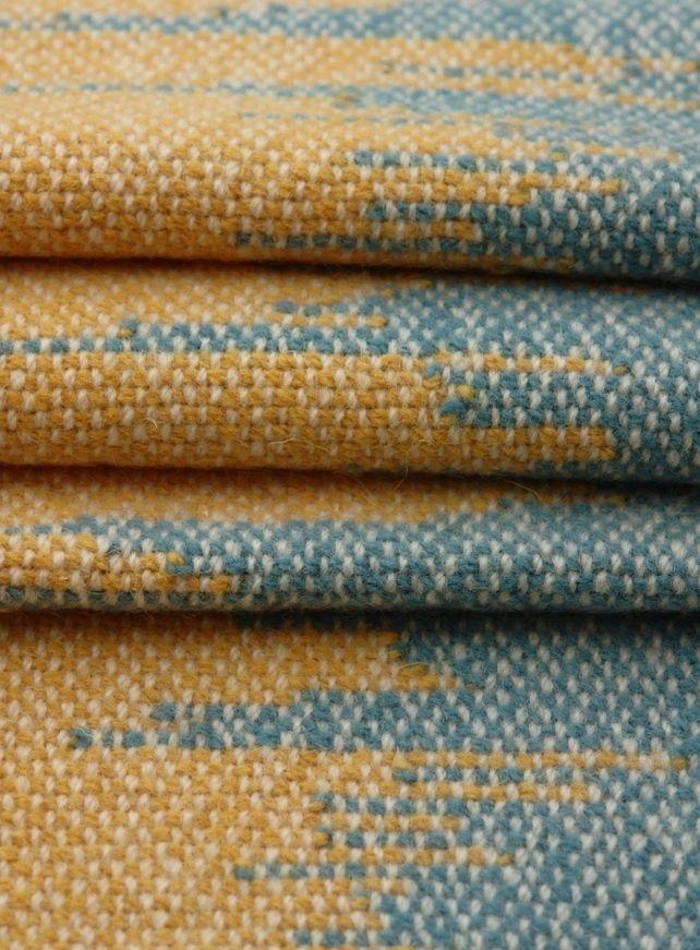 Hand Woven Wool Floor Rug Blue And Yellow By Agnis Smallwood Via Folksy 45 00 Wool Floor Rugs