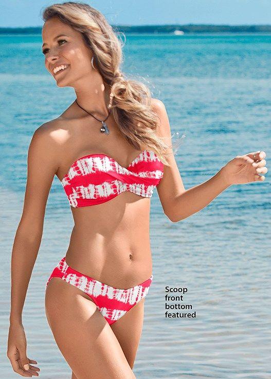 1dea0ba9d5 Venus Women's Plus Size Scoop Front Bikini Moderate Bikini/Swimsuit Bottoms  - Red/white , 16