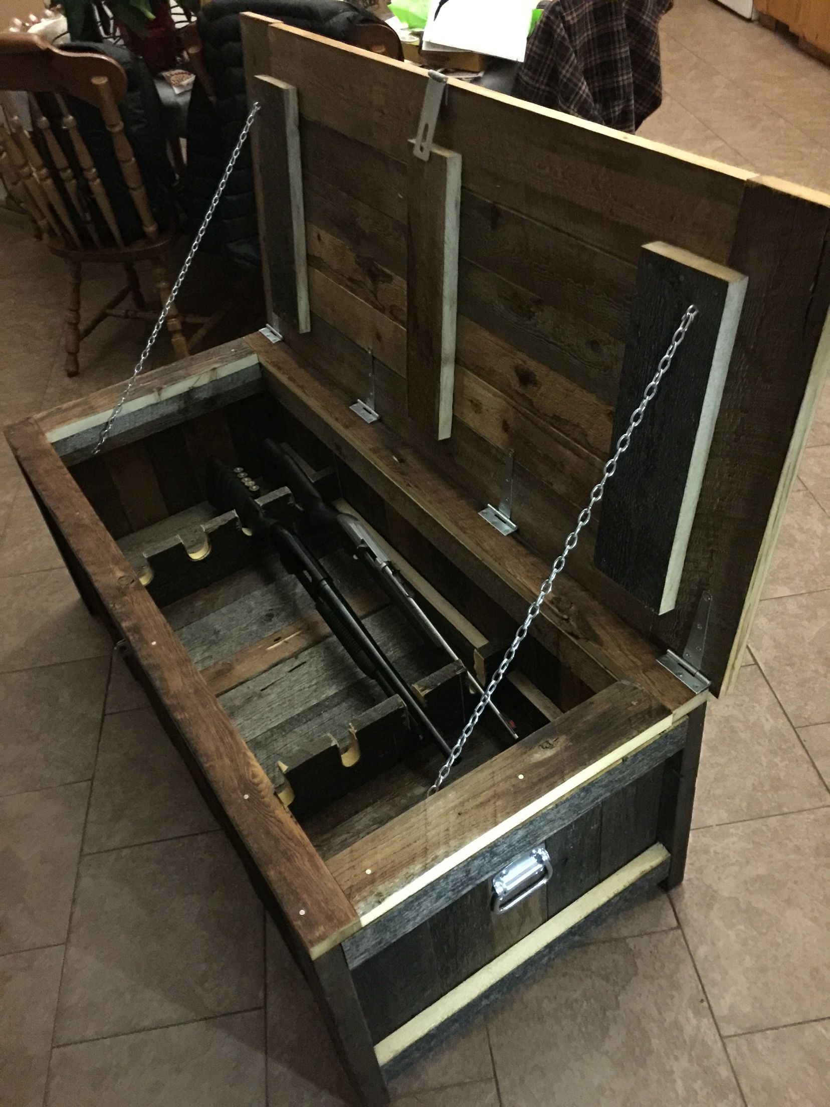 Reclaimed Barnwood Coffee Table Gun Chest