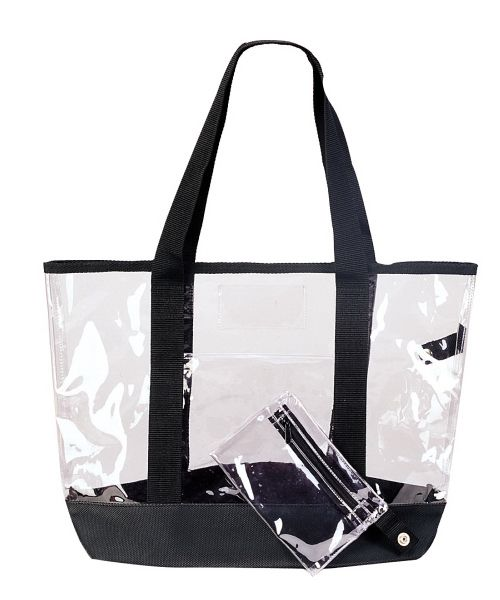 Description Clear Tote Bag With Detachable Coin Purse And Small Center Pocket Two Tone Color