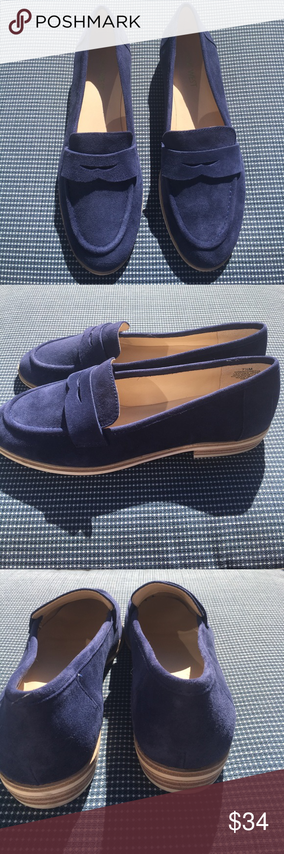 New indigo Nine West suede loafers Chic comfortable brand new never worn Nine West indigo suede loafers. True to size Nine West Shoes Flats & Loafers