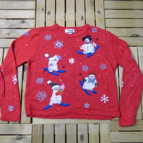Vtg novelty retro ugly 1980s #christmas jumper #sweater festive bad #taste l b001,  View more on the LINK: http://www.zeppy.io/product/gb/2/171904963023/