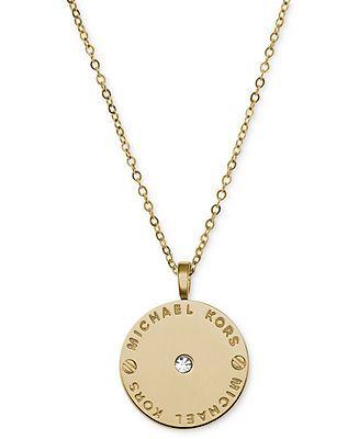Michael Kors Necklace Gold Tone Logo Plate Disc Pendant Fashion Jewelry Jewelry Watches M Michael Kors Necklace Michael Kors Jewelry Gold Watches Women