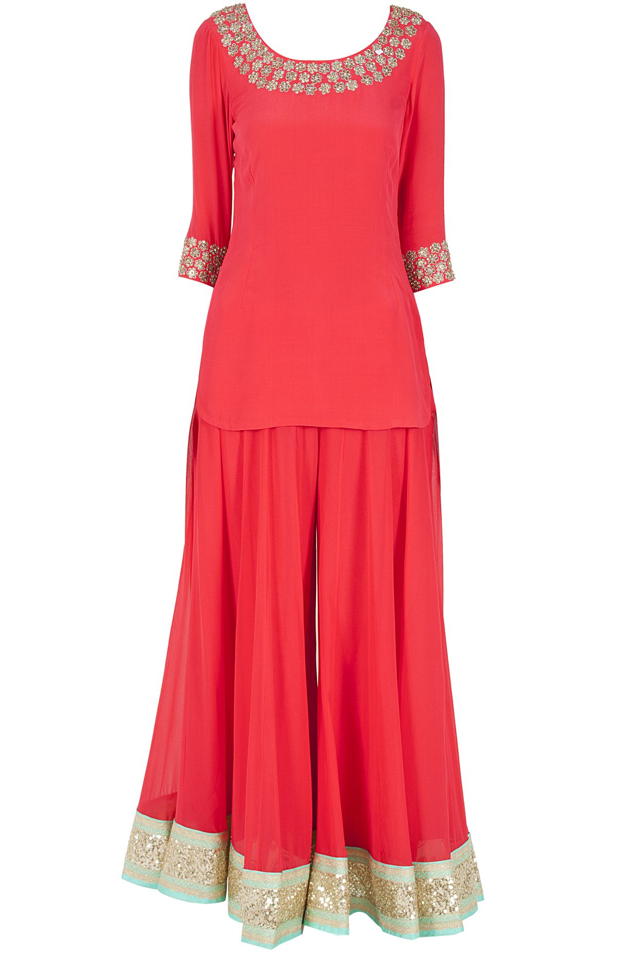02625cd987 Red embroidered short kurta with sharara available only at Pernia's Pop-Up  Shop.