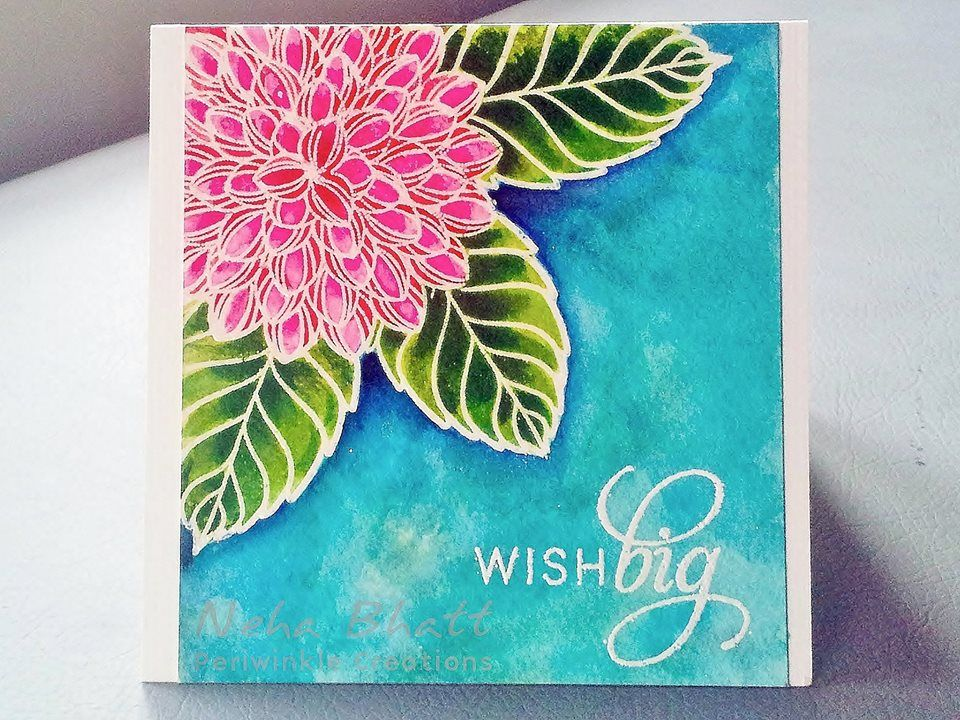 white embossed image and colored with water colors. #PennyBlack #watercolor