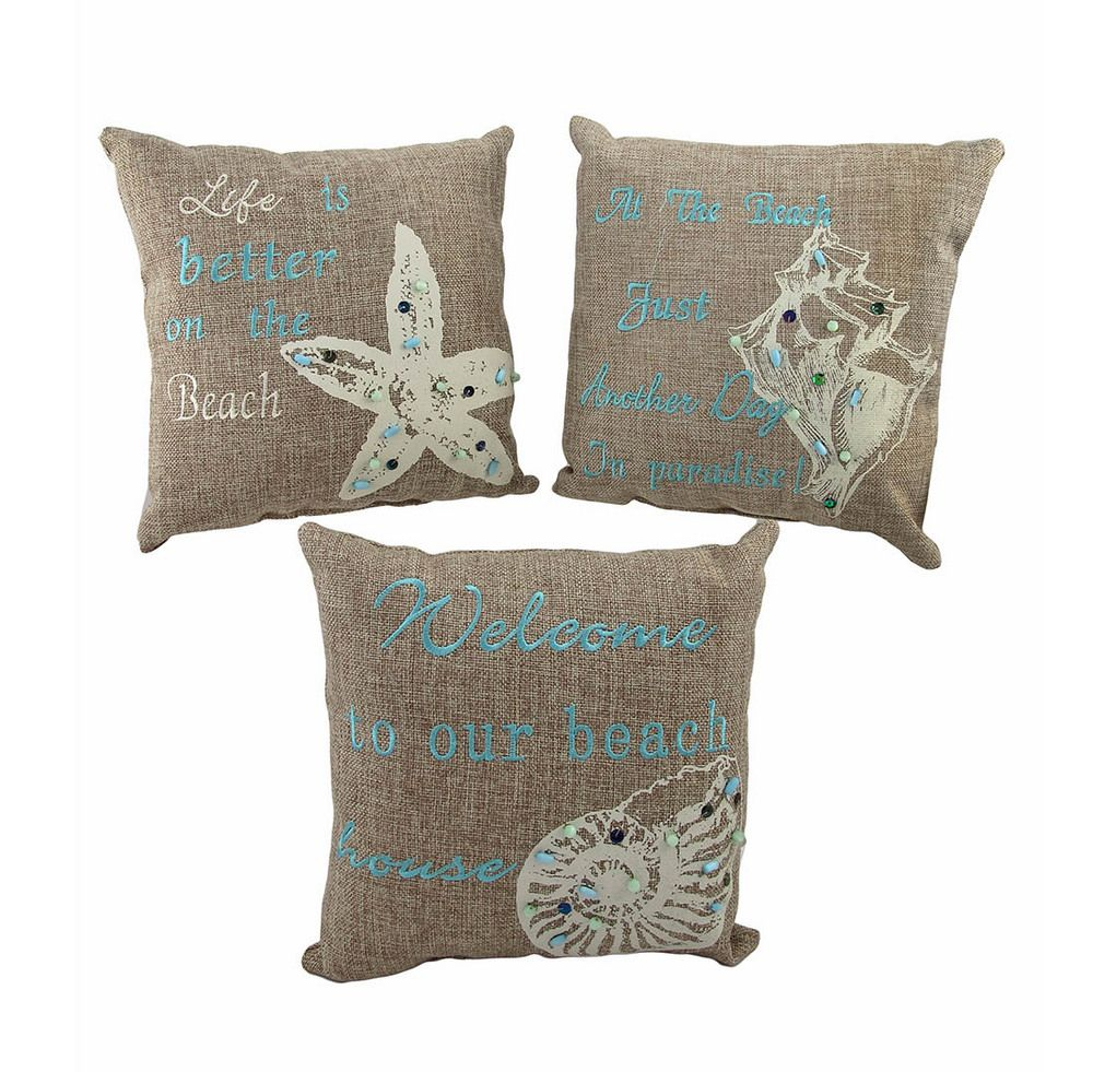 Beach Themed Decor Of 3 Beach Themed Accent Pillows 10 In