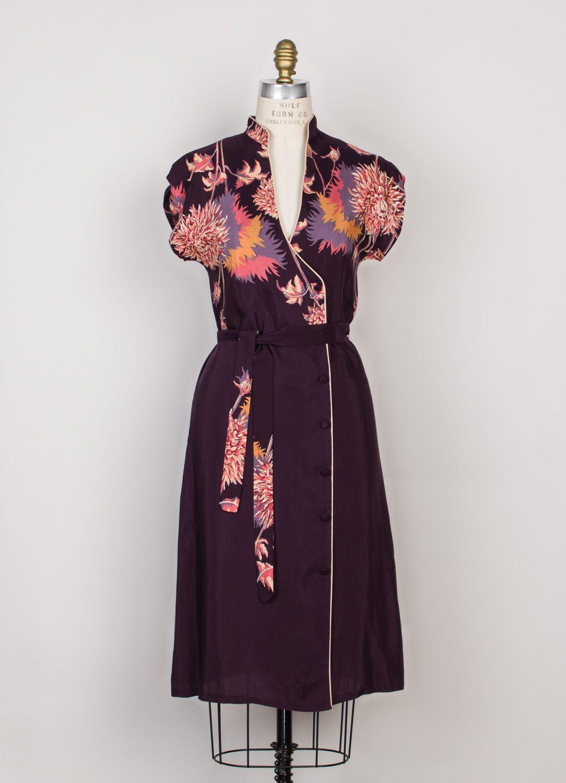 e8c2f36e2d94 1970s purple floral dress by Malibu Media | DeLaBelle Vintage ...