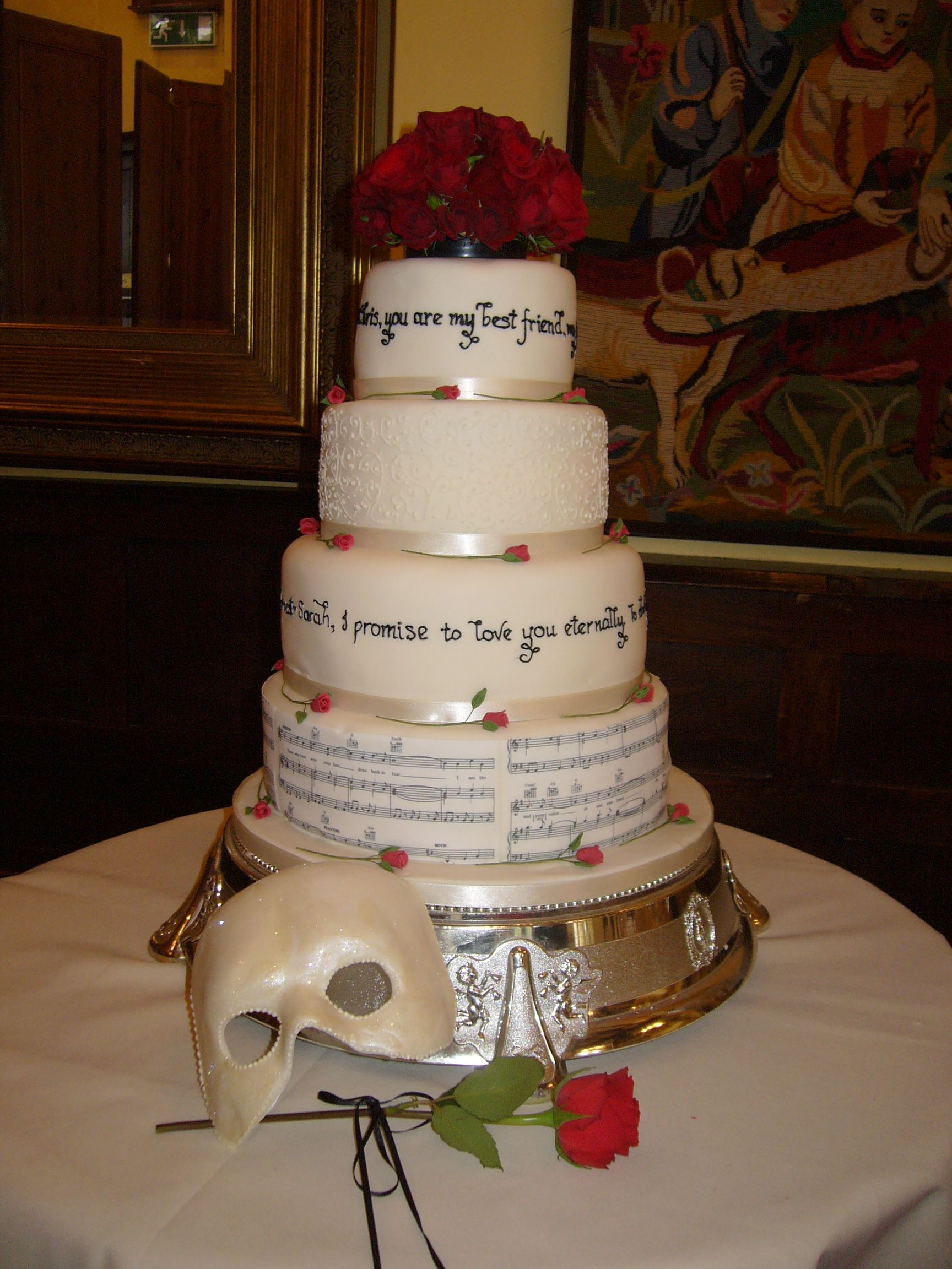 Phantom Of The Opera Wedding Cake With Phantom Music On Sugar Sheets