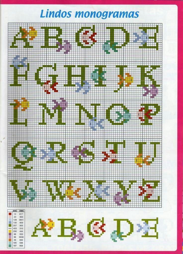 Pin di laura magon su alfabeti puntocroce letras de for Ricamo punto croce lettere