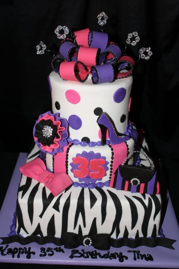 Zebra Striped Purse And Shoe Cake Cool Birthday Cakes Girly