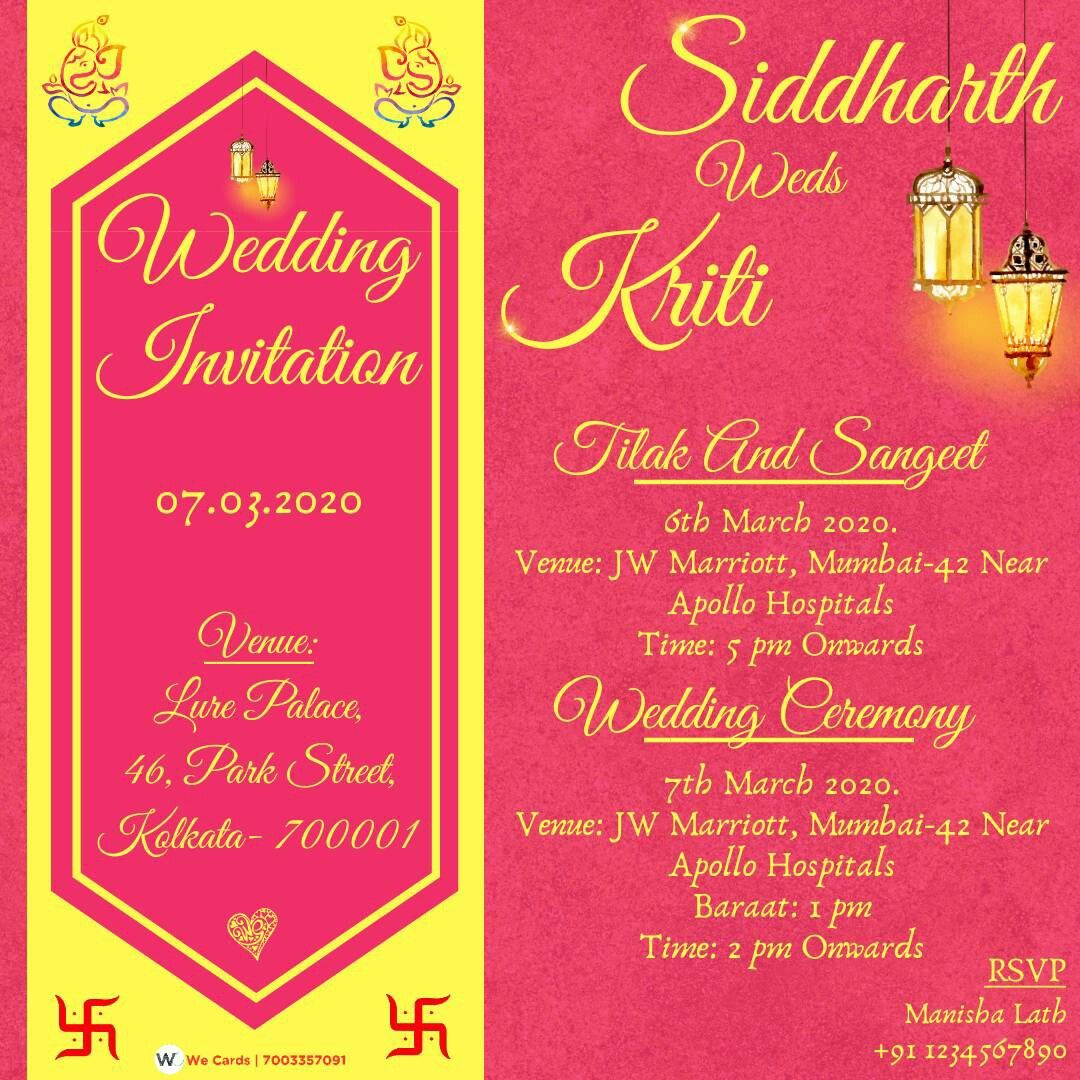 Pin By Jitesh Gupta On We Cards Order Online Indian Wedding E Invitations And Video Invitations Wedding Invitation Card Template Marriage Cards Wedding Cards