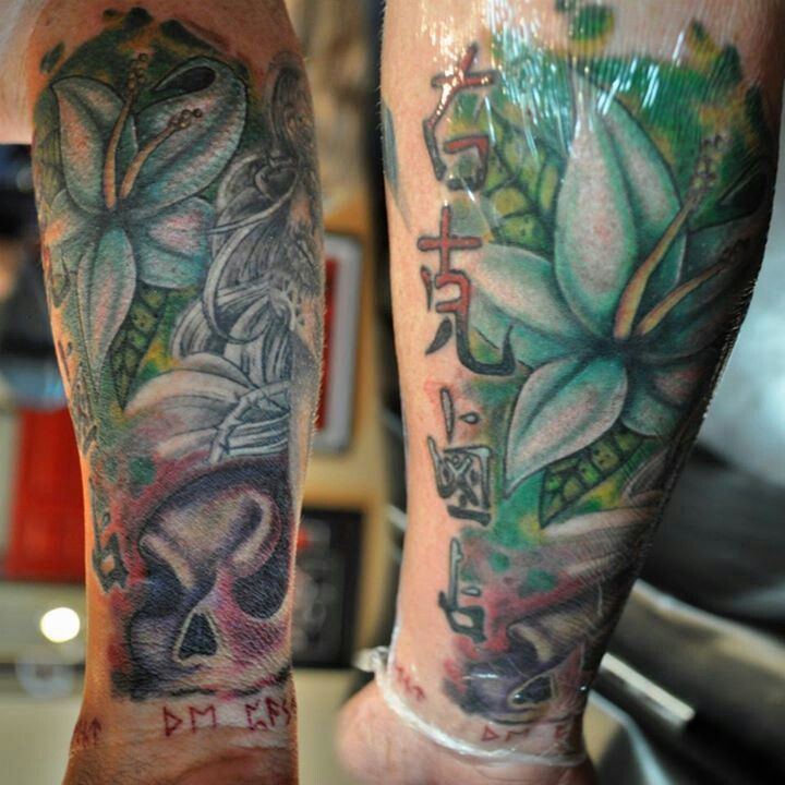 Colorful filler tattoo healing with saniderm tattoo