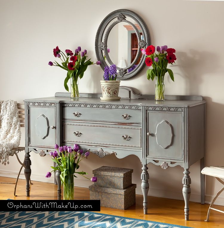an antique sideboard finished with a subtle layered finish in paris grey chalk paint decorative. Black Bedroom Furniture Sets. Home Design Ideas