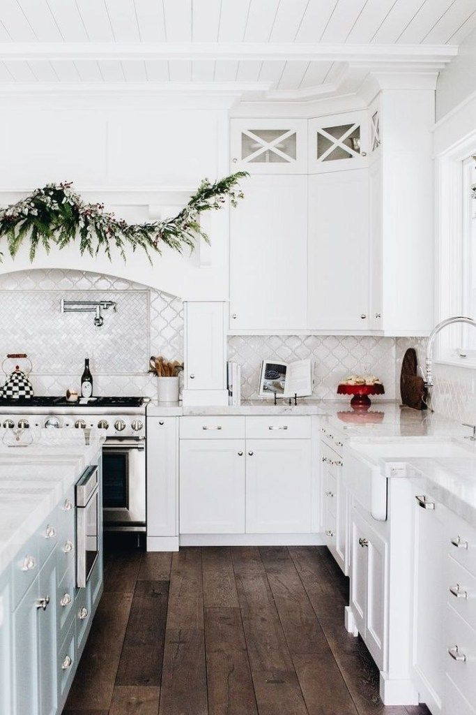 60 Spectacular White Kitchens With Dark Wood Floors 26 Classic White Kitchen White Kitchen Wood Floors Small White Kitchens