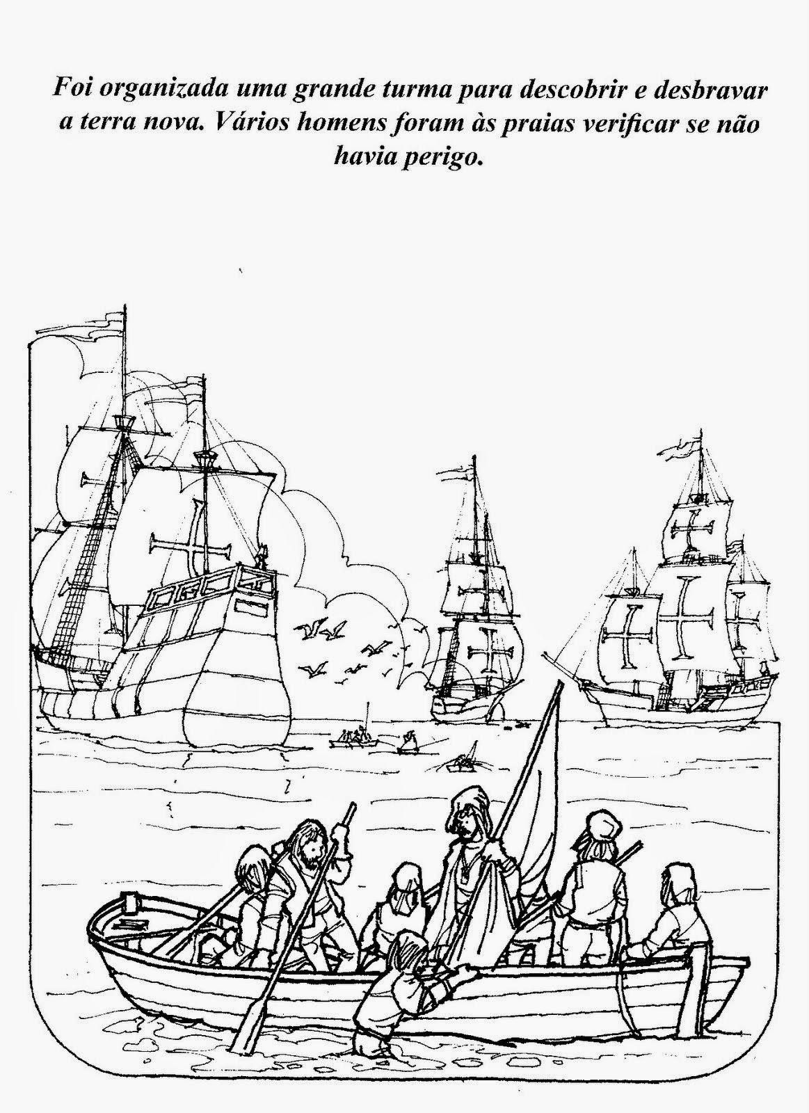 História do Descobrimento do Brasil com 14 Desenhos para