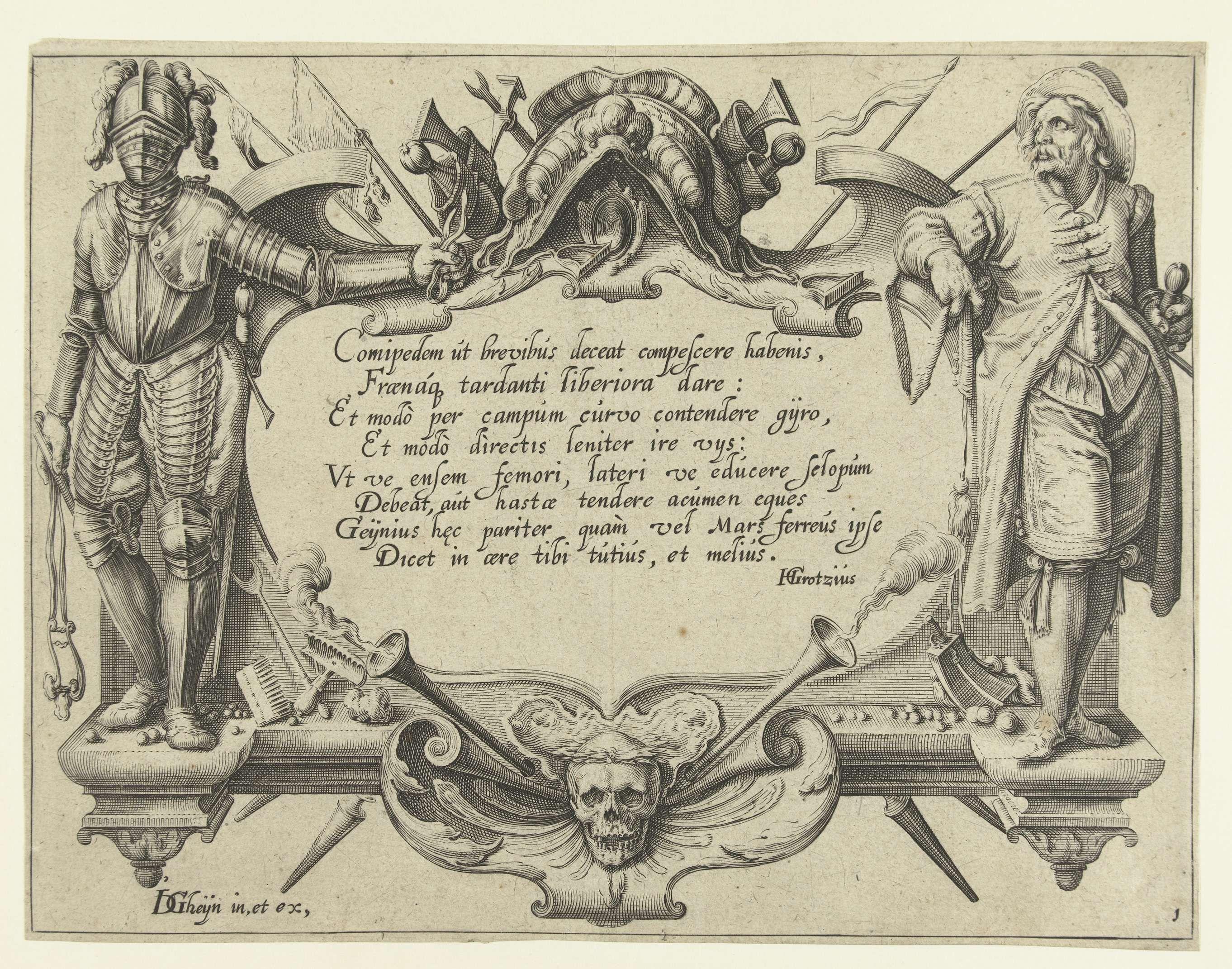 Hugo de Groot   Titelprent voor prentserie De ruiterschool, Hugo de Groot, Jacob de Gheyn (II), 1599   Een Latijnse tekst in een cartouche. Links ernaast een figuur in harnas (een ruiter, blijkens de leidsels die hij in zijn hand houdt), rechts ernaast een militair zonder harnas; onder de tekst een doodshoofd. Deze prent is onderdeel van een serie van 22 genummerde prenten: een titelprent, 20 prenten waarop één of enkele verschillende typen (meest geharnaste) ruiters zijn weergegeven, en een…