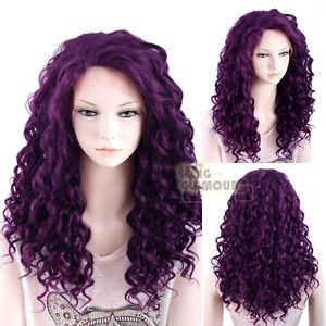 Long Spiral Curly 50cm Dark Purple Lace Front Wig Heat Resistant ... 4f1d39ad9fe3