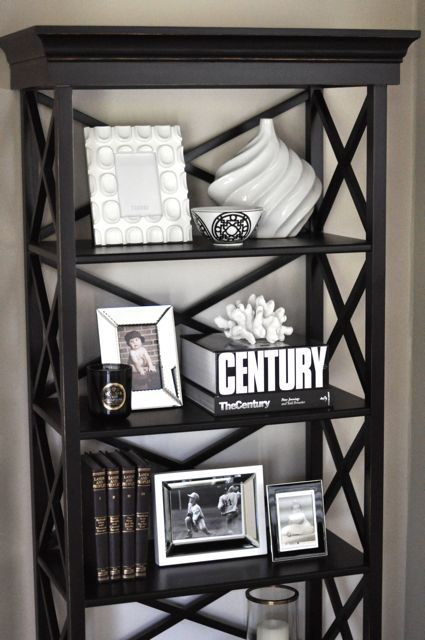 Gorgeous Bookshelf Vignette With Creamy Gray Walls Paint Color Black Ballard With Images Black And Silver Living Room Black And White Living Room Black Living Room Decor