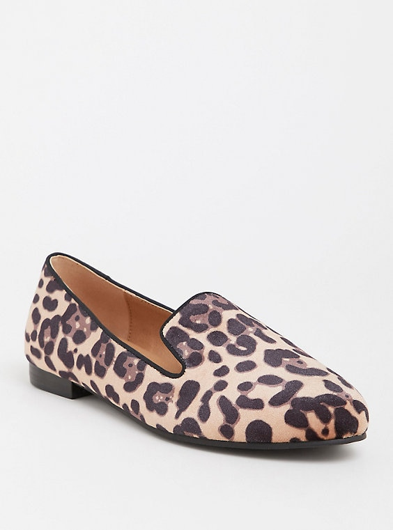 Leopard Print Faux Suede Loafer (Wide