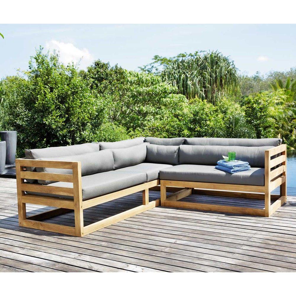 Canapé d\'angle de jardin 3/4 places en teck | Maisons du Monde ...