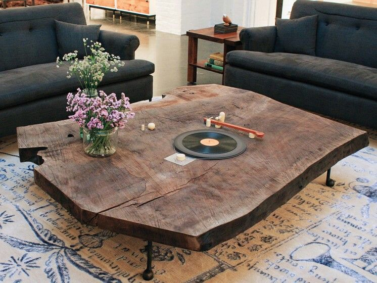 Bddw Slab Coffee Table Record Player Coffee Table Furniture Vinyl Record Room