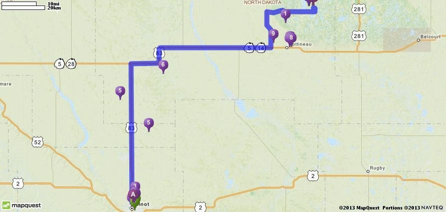 Driving Directions From Minot International Airport Mot In Minot