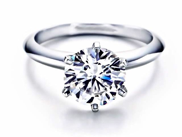 6-Prong Round Cut Tiffany Style Engagement Ring Available in 14K, 18K and Platinum with Matching Band Available