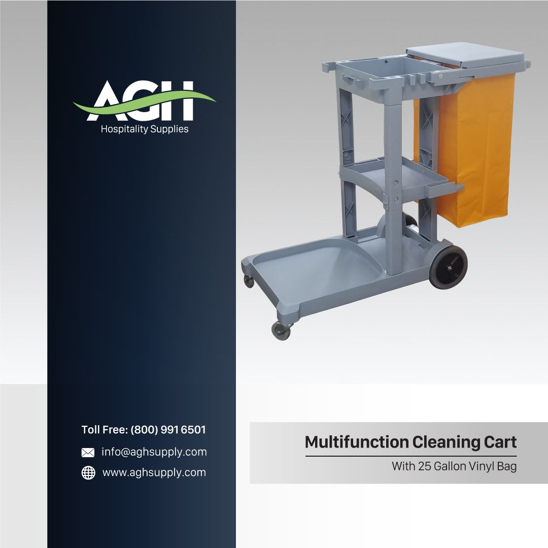 Blue Multifunction Cleaning Cart with Bag