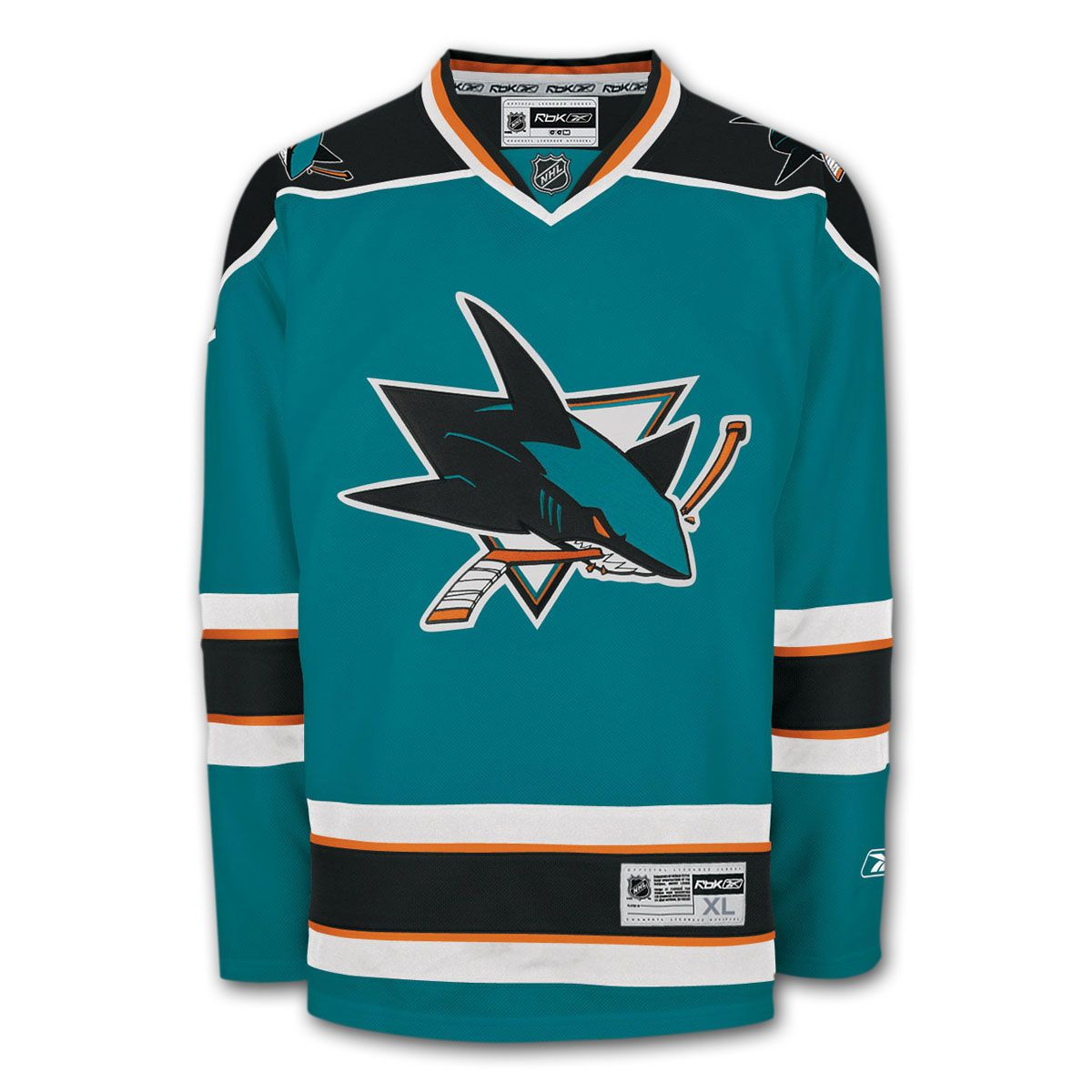new style f4782 254bf San Jose Sharks Reebok Premier Replica Home NHL Hockey ...