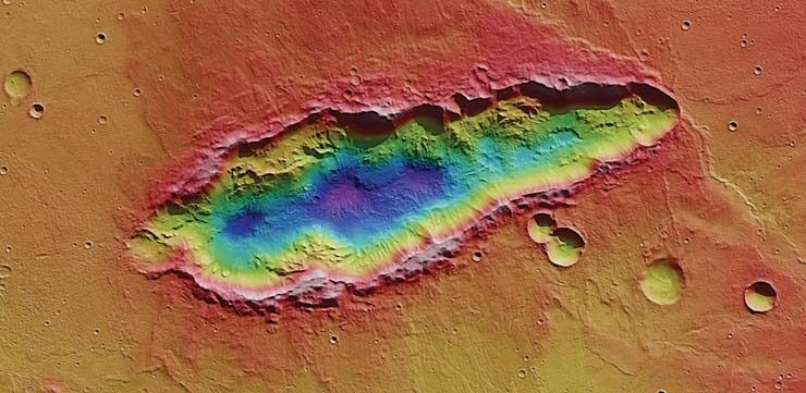 """Image of the Day: """"Mars Ripped!"""" --A Multiple Impact Crater 78 Kilometers Long - http://www.scoop.it/t/science-news/p/1654916617/image-of-the-day-mars-ripped-a-multiple-impact-crater-78-kilometers-long"""