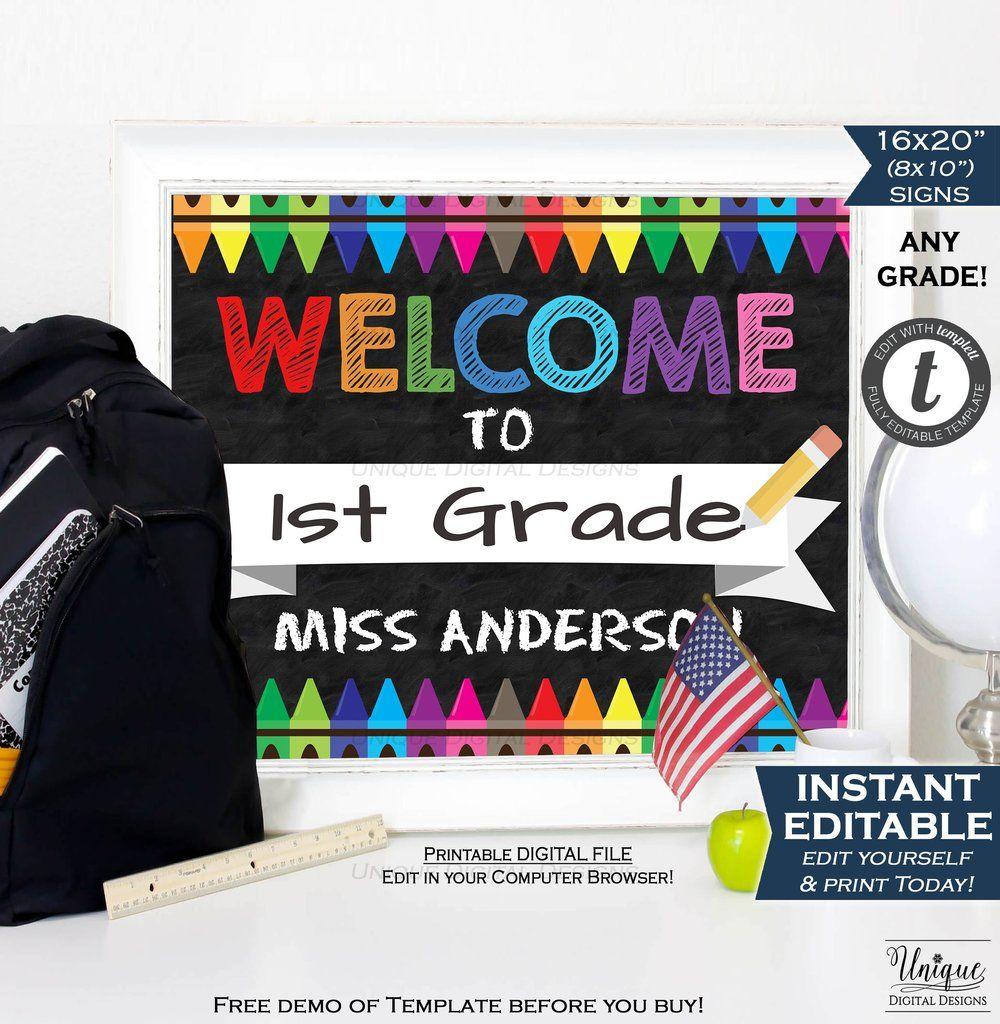 welcome to school chalkboard sign teacher first day of school board crayon any grade diy digital