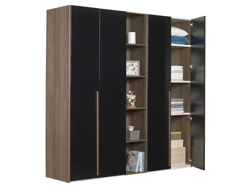 armoire 4 portes battantes pablo coloris noyer et noir. Black Bedroom Furniture Sets. Home Design Ideas