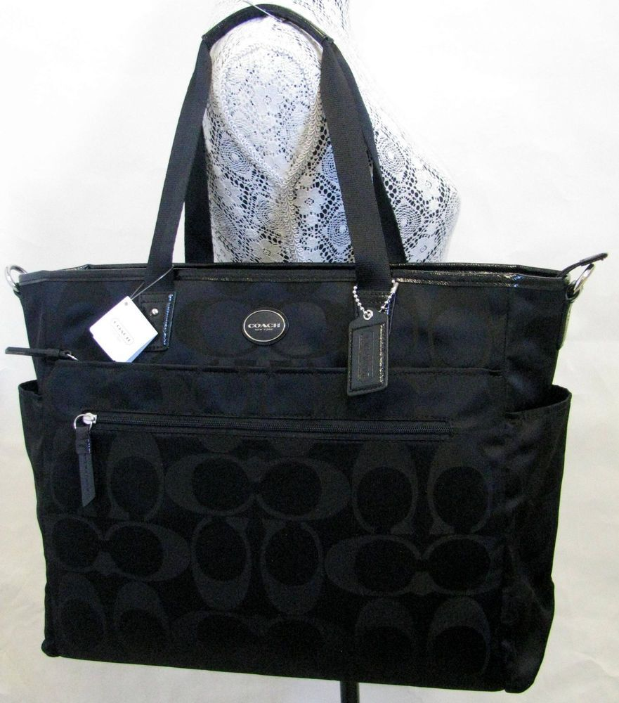 COACH SIGNATURE NYLON MULTIFUNCTION DIAPER BABY BAG F77577 Black NWT