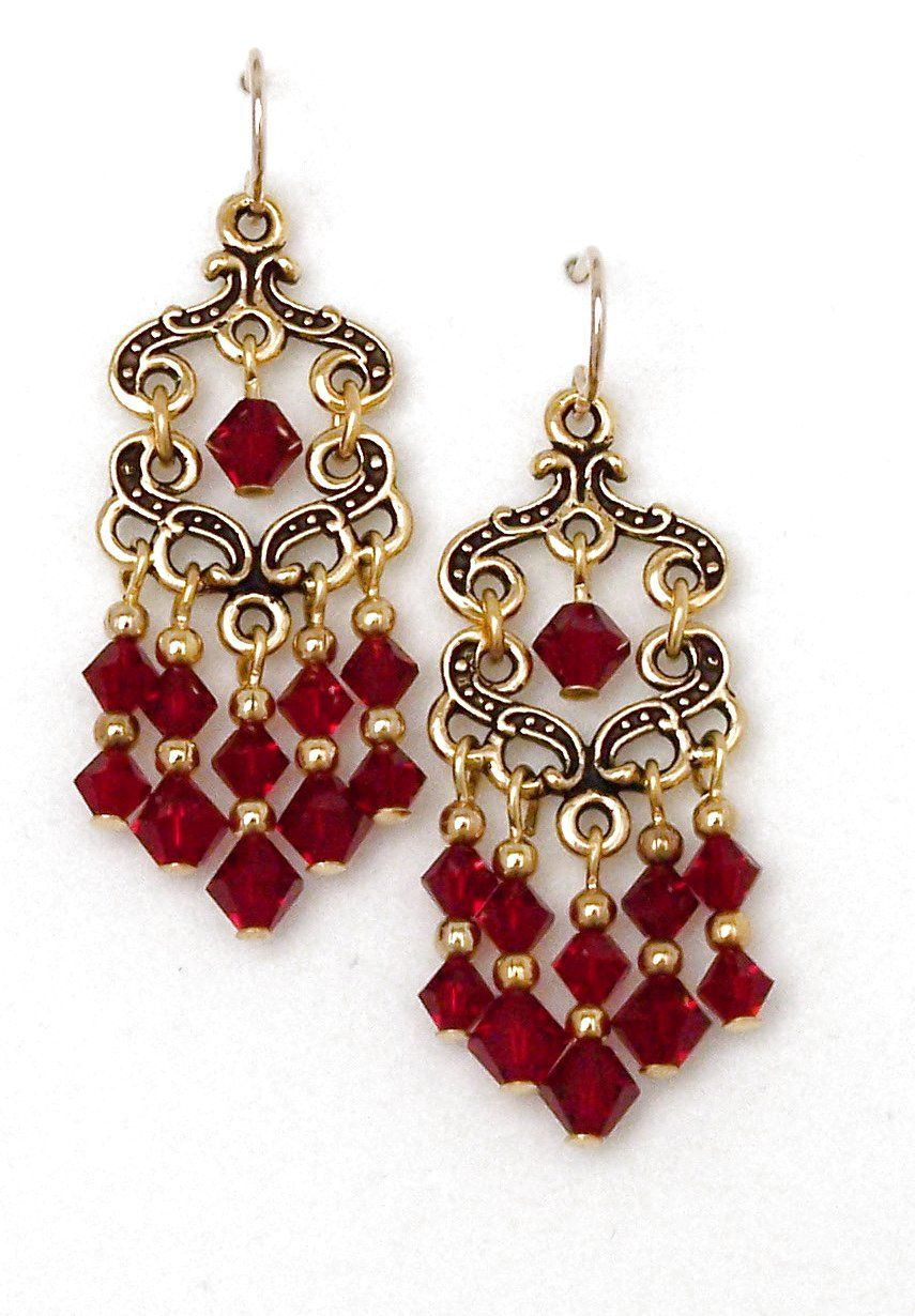 03 04 776 siam red crystal chandelier earrings fancy keepsake red crystal chandelier earrings fancy keepsake aloadofball Image collections