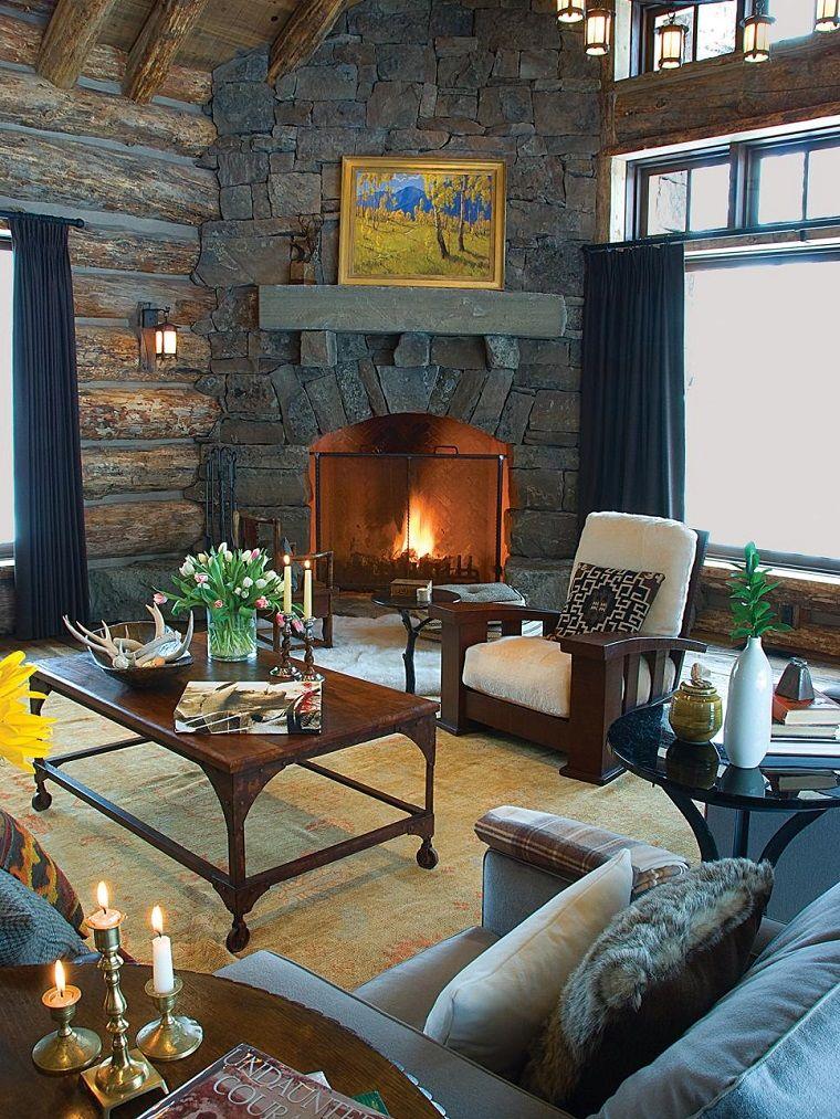 salon rustico elegante chimenea mesa sillon madera ideas - Salones Rusticos Con Chimenea