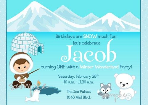 Winter wonderland eskimo boy themed digital birthday party winter wonderland boy eskimo themed printable birthday party invitation filmwisefo Image collections